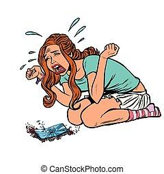 女孩, 電話, 哭泣, 尖聲叫, 打破