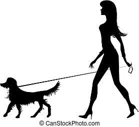 女孩, 黑色半面畫像, 狗