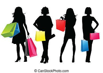 女孩, 黑色半面畫像, 購物