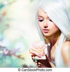 女孩, flower., 幻想, 春天, 上升, 美麗