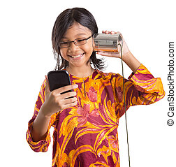 女孩, smartphone, 年輕