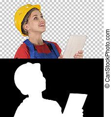 女性, 片劑, 工程師, 建設, 電腦, constru