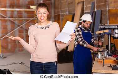 女性, 設計師, 建築工地