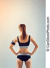 女性, 運動員, 轉動, 背, 音樂听, 運動裝