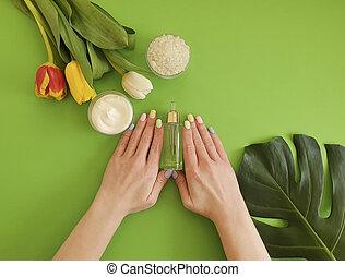 奶油, 顏色, 化妝品, 紙, 綠色, 手