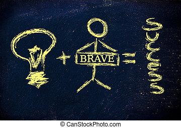 好, 成功, 想法, 均等, 勇敢, 加上, 投資者