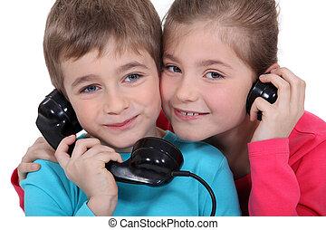 姐妹, 老, 兄弟, 模式, 電話