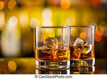 威士忌酒, 計數器, 酒吧, 喝