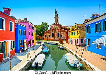 威尼斯, burano, italy, 運河, 鮮艷, 島, 房子, 界標, 教堂, 小船