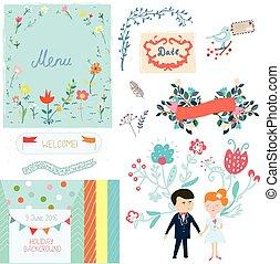 婚禮, 元素, 漂亮, 設計