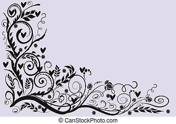 婚禮, 卡片, 框架, 問候, 玫瑰, 邀請, 壁角 花卉