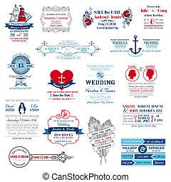 婚禮, -, 彙整, 矢量, 邀請, 剪貼簿, 設計