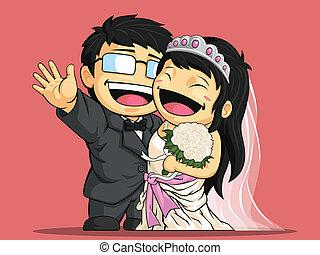 婚禮, 新娘, gr, 卡通, &, 愉快