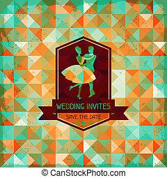 婚禮, style., retro, 卡片, 邀請