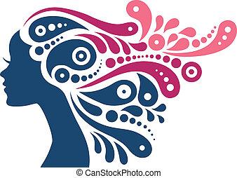 婦女女孩, 頭髮, 摘要, silhouette., 紋身, 美麗