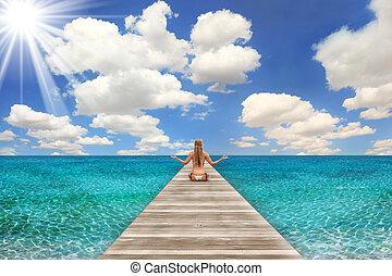 婦女考慮, 場景, 明亮, 海灘, 天