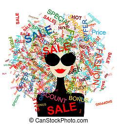 婦女購物, 概念, 設計, 愛, 時裝, 你, sale!