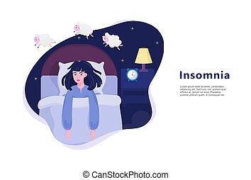 婦女, 不, insomnia., 痛苦, 睡眠, 女孩