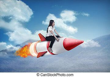 婦女 事務, 火箭, 騎, 飛行, 亞洲人