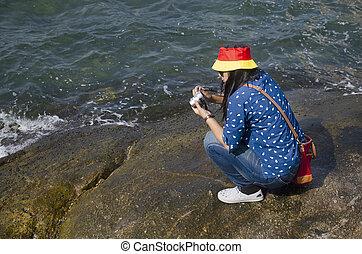 婦女, 人們, 相片, chonburi, 矯柔造作, 拿, 海, 岩石, 泰國, 泰國