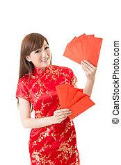 婦女, 信封, 紅色, 漢語