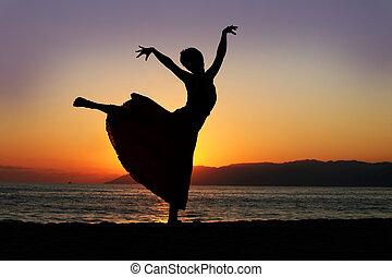 婦女, 傍晚, 跳舞