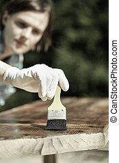 婦女, 剛才塗描, 木匠, 木頭, 檢查