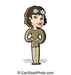 婦女, 卡通, 飛行員