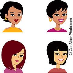 婦女, 卡通, avatar, 多少數民族成員