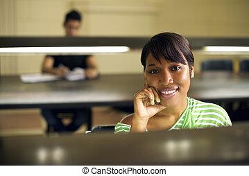 婦女, 學習, 大學學生, 年輕, 圖書館, 美國人, 學院, 女的非洲人