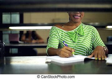 婦女, 學習, 年輕, 圖書館, 學院, 女生, 黑色