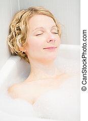 婦女, 年輕, 放松, 洗澡