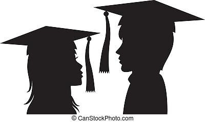 婦女, 年輕, 畢業, 人
