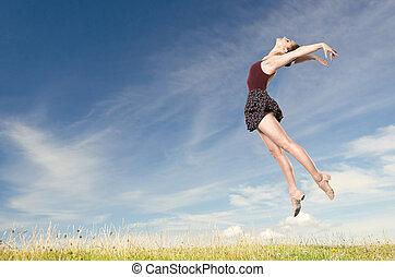 婦女, 年輕, 跳躍