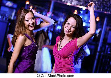 婦女, 年輕, 迪斯科, 樂趣, 夜總會, 有