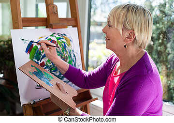 婦女, 年長, 樂趣, 家, 畫, 愉快