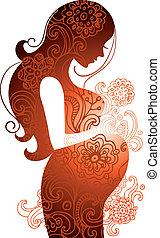 婦女, 怀孕, 黑色半面畫像