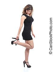 婦女, 或者, 黑色, 穿, 脫開, 放, 拿, 跟, 衣服, 美麗