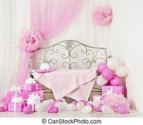 婦女, 房間, 禮物, boxes., 生日禮物, 孩子, 背景, 聯歡會女孩, 或者, 慶祝