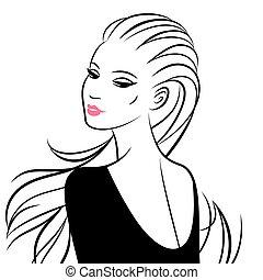 婦女, 插圖, 被隔离, white., 矢量, 美麗