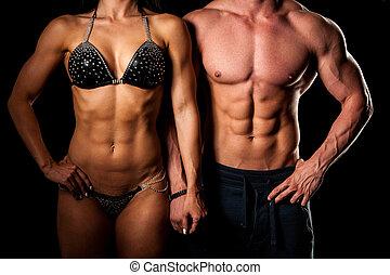 婦女, 擺在, 夫婦, -, 人, 健身, 适合, 工作室