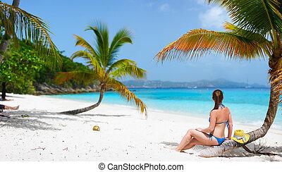 婦女, 海灘, 年輕, 放松