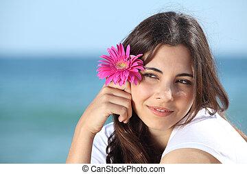 婦女, 海灘, 肖像, 花, 粉紅色, 美麗