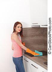 婦女, 清洁, 年輕, kitchen.