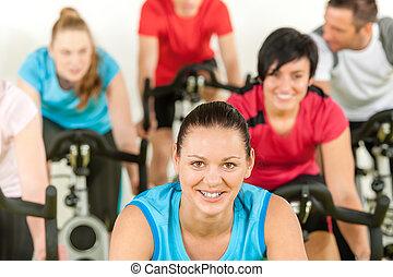 婦女, 測驗, 旋轉, 健身, 微笑, 類別