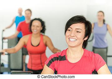 婦女, 測驗, 體操, 健身, 微笑, 類別