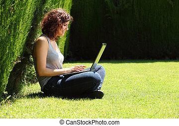 婦女, 相當, 草, 坐, 公園, 膝上型