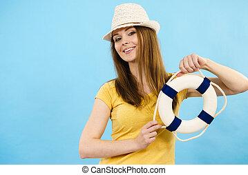 婦女, 穿, sun 帽子, 成人, 年輕