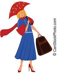 婦女, 藍色的上衣, 卡通, 紅的傘