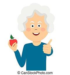 婦女, 蘋果, 放棄, 年長, 拇指, 藏品, 紅色, 愉快